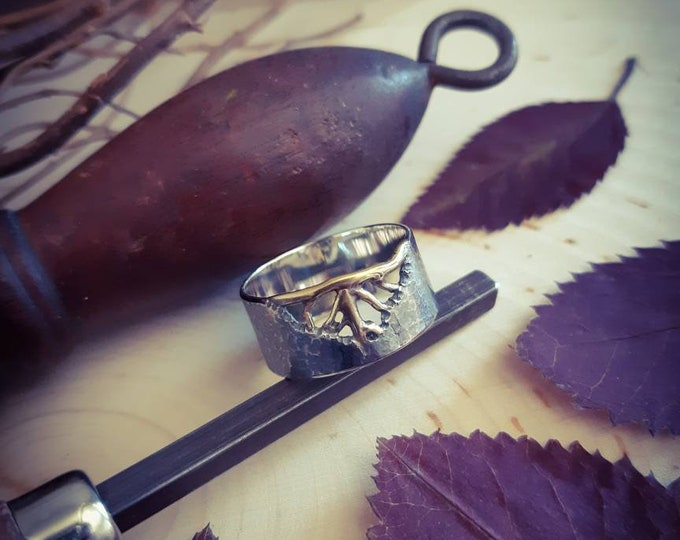 Leaf sterling silver ring, leaf veins silver ring, leaf print ring, leaf texture ring, mix metal ring, one of a kind ring, nature inspired
