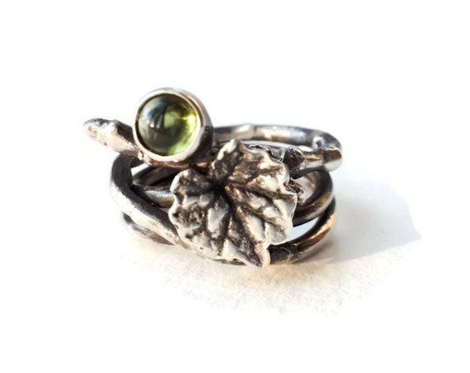 sterling silver ring, nature, leaf, branch, peridot, spring