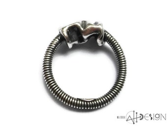Sterling silver twisted crushed ring, steampunk, industrial, modern, contemporary look