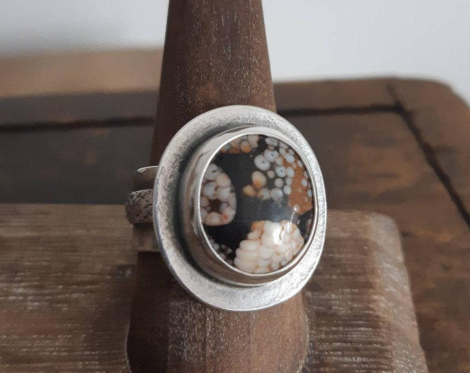 Sterling silver snake ring, snakeskin ring, fossil ring, wide band snake ring, rustic snake ring, earth tone stone ring, size 8.5, 8.75