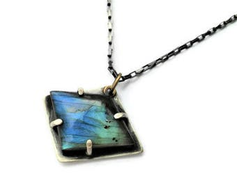 Geometric labradorite blue flash pendant sterling silver and brass, box rectangle chain included, modern, contemporary, simple, minimalist