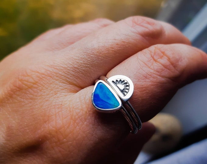 Double stacking sterling silver ring sunset sunrise over the ocean, blue australian opal ring, sunset sunrise over the sea, summer jewel