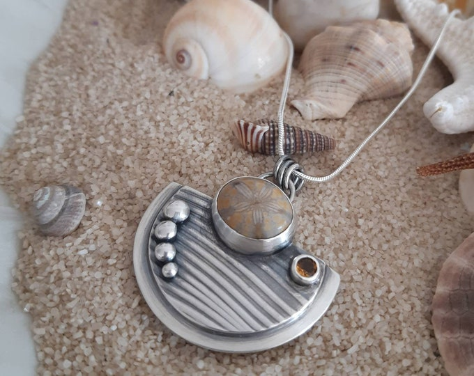 Sand dollar sterling silver pendant, citrine silver pendant, fossil pendant, waves pendant, one of a kind artisan pendant, beach, ocean