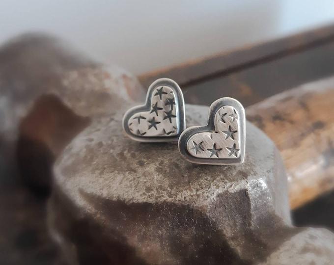 Sterling silver heart studs earrings, rustic heart earrings, handstamped earrings, heart and stars jewelry, artisan jewelry, metalsmith
