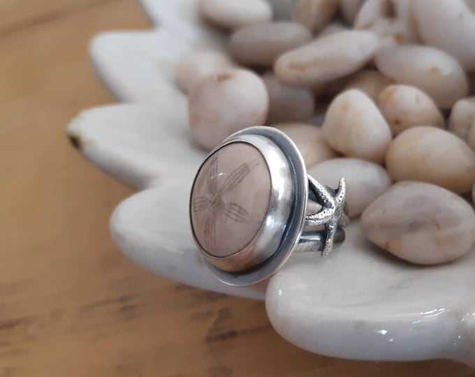 Featured listing image: Sterling silver ring, sand dollar fossil ring, summer ring, rustic oxidized