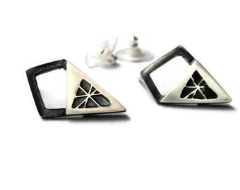 Geometric sterling silver earring stud, triangle, modern, contemporary, black and shiny, heavily oxidated, asymmetrical