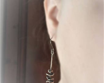 Lava sterling silver drop earrings, waves sterling earrings, rustic earrings, natural stone, black natural stone earrings OOAK earrings