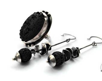 Lava, sterling silver, set, drop earrings, cocktail ring, rustic, natural stone, black, waves, dots, balls, size 9, unique, original, quebec
