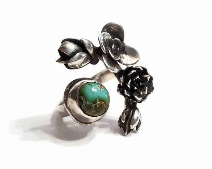 Featured listing image: Adjustable flowers sterling silver ring, succulents ring, small turquoise ring, crown of flowers, boho chic ring, size 7.75- 8.75, Quebec