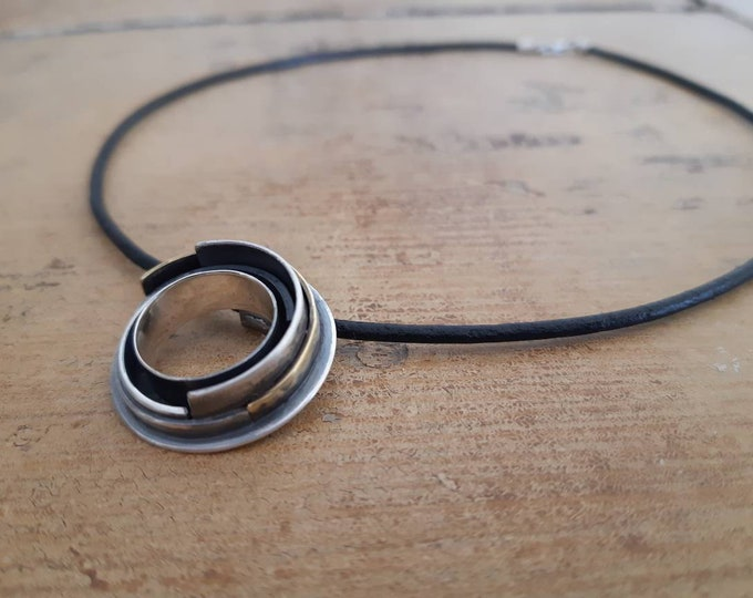 Unisex contemporary circle pendant, mix metal circle pendant, constellation pendant