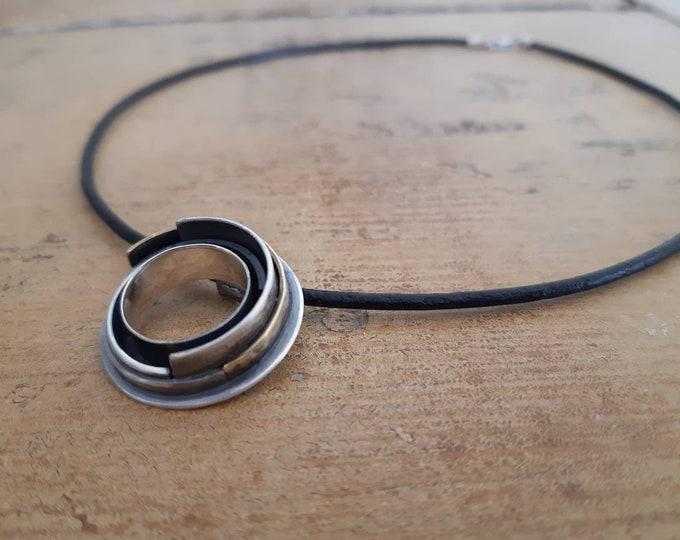 Unisex contemporary circle pendant, mix metal circle pendant, constellation pendant