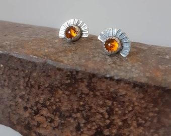 Small amber studs, amber earrings, sunrise sterling silver earrings, amber jewelry, sun earrings
