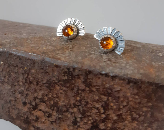 Small amber studs, amber earrings, sunrise sterling silver earrings, amber jewelry, sun earrings