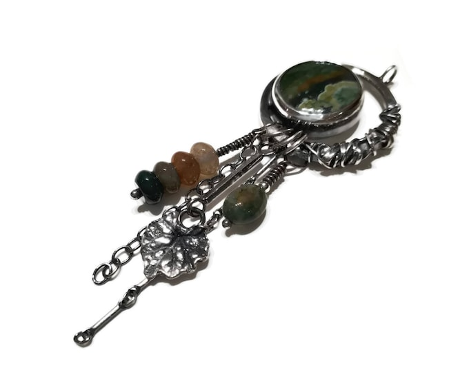 Round Sterling silver pendant, natural stone, rhyolite, moss agate beads, earth tones, green, nature inspired, plant, leaves, climbing vines