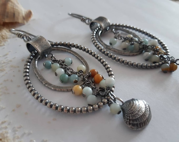Sea sterling drop earrings, ocean earrings, summer rustic sterling earrings, amazonite beads earrings, sterling shell earrings, boho earring