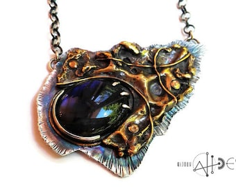 Large pendant with blue flash Labradorite stone,  sterling silver and brass, folding and forming, handforged, made in quebec, rolo chain