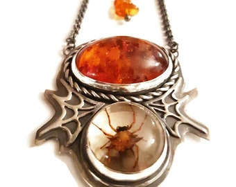 Spider sterling silver pendant, spiderweb sterling silver pendant, spooky pendant, halloween necklace, large amber pendant, spider in resin