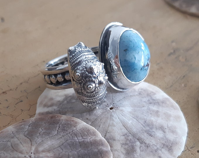 Featured listing image: sky bleu turquoise ring, sea urchin ring, double sterling silver ring, adjustable ring, summer, ocean, shell ring, oneof a kind ring, unique