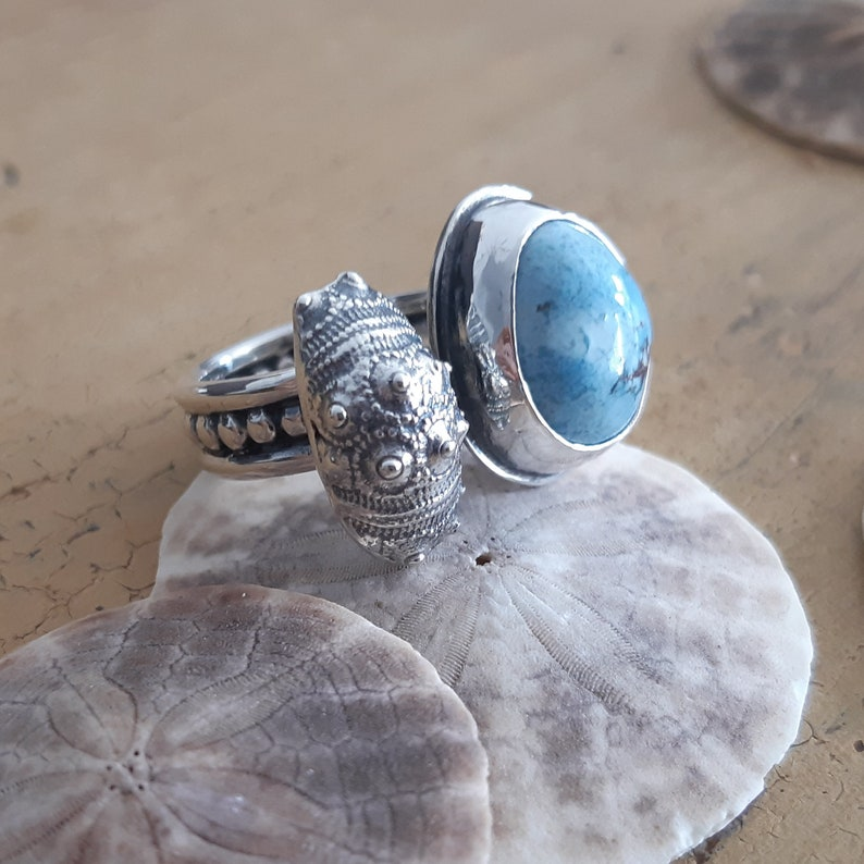 sea urchin ring summer unique adjustable ring double sterling silver ring sky bleu turquoise ring oneof a kind ring ocean shell ring