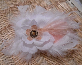 Wedding Accessory, Feather Fascinator Hair Clip, Bridal hairpiece w/ Birdcage blusher, White & Peach Feathered Hair piece