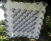 Quilt Fan Pattern Hand Stitched Feedsack Country Blue Pink Green