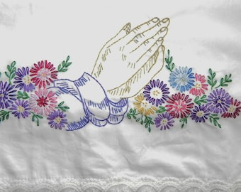 Hand Embroidered Prayer Hands Floral Thomaston Set of 2 Pillow Cases - Vintage
