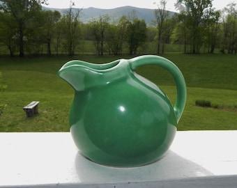 "Mini Green Cream Pottery Pitcher Marked USA # 1  - 3"" Tall"
