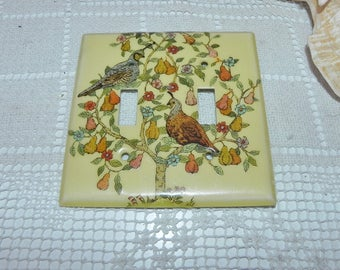 Light Switch Plate with Partridges in a Pear Tree - Birds - Double Switch