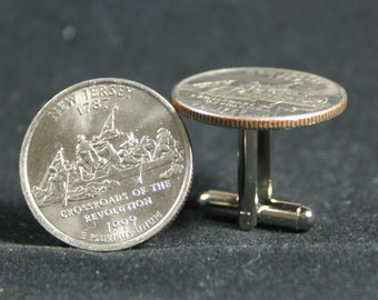 New Jersey State Quarter Cufflinks 1999 Free Gift Bag Birthday Birthplace Home State 19 Year Anniversary 19th
