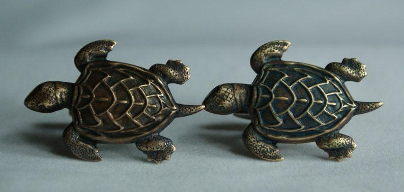 Brass Turtle Cufflinks Free Gift Bag by Cufflinked