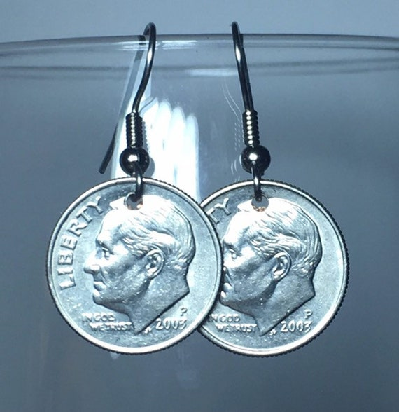 2003 Dime Earrings Free Gift Bag 16 Year Anniversary 16th