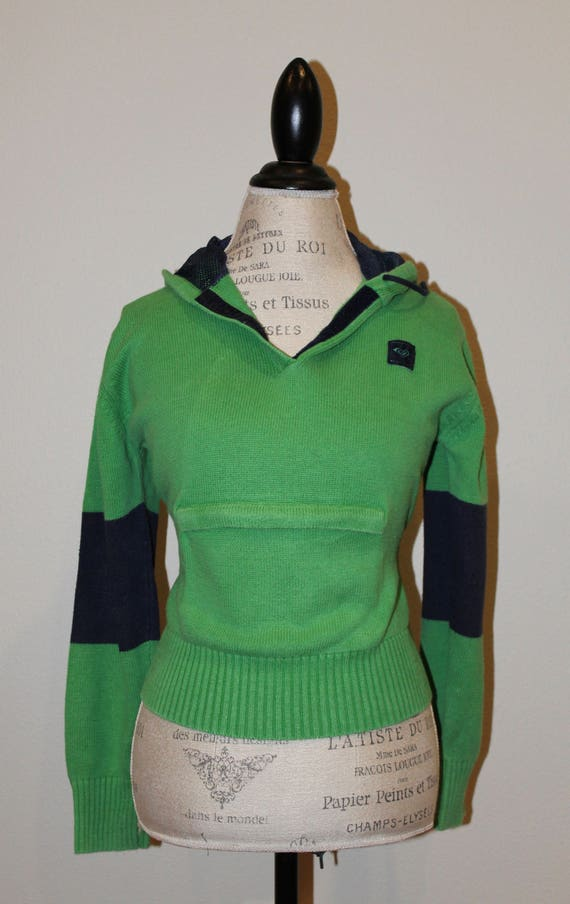 Vintage 90s Roxy sweater -  green and navy blue