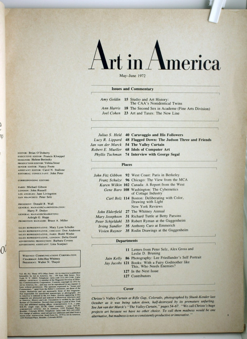 1972 Art in America - Christo Issue - Art in America Periodical - Art  Magazine Subscription