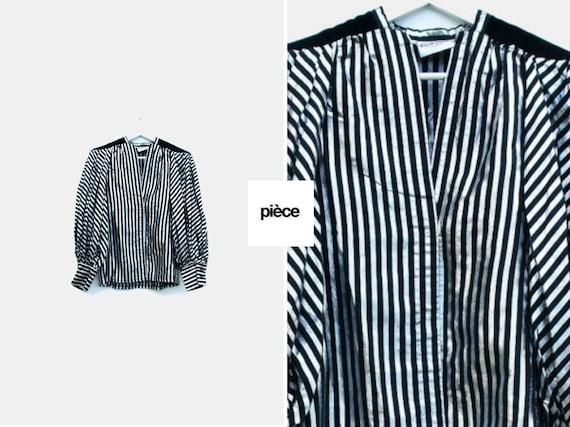 Striped metallic paper thin jacket blouse poet sle