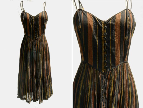 Vintage PHOOL hippie striped metallic sheer cotton