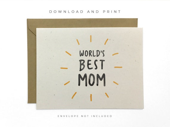 NEW Printable World's Best Mom Card Happy Mother's Etsy Adorable World Best Mom Picture Download