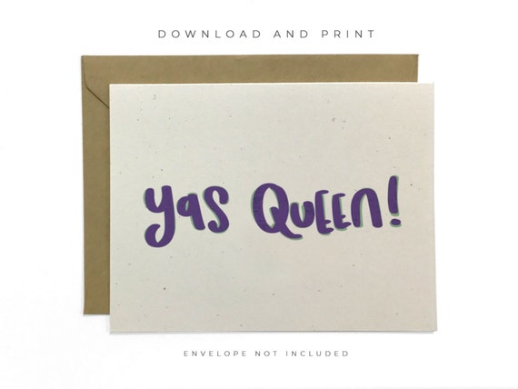 YAS QUEEN Handmade Greeting card in Blue Ombre