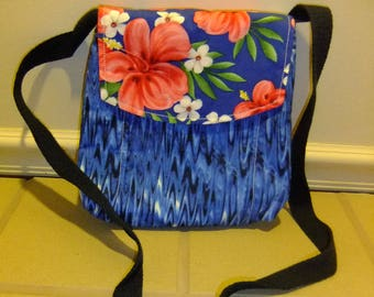 Tropical Small Messenger Bag - made by me with blue waves fabric and flap with hawaiian floral print - crossover purse