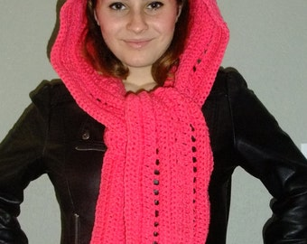 Crochet Scoodie , Accessories, Hood and Scarf Combo Scarf/Valentine Scarf