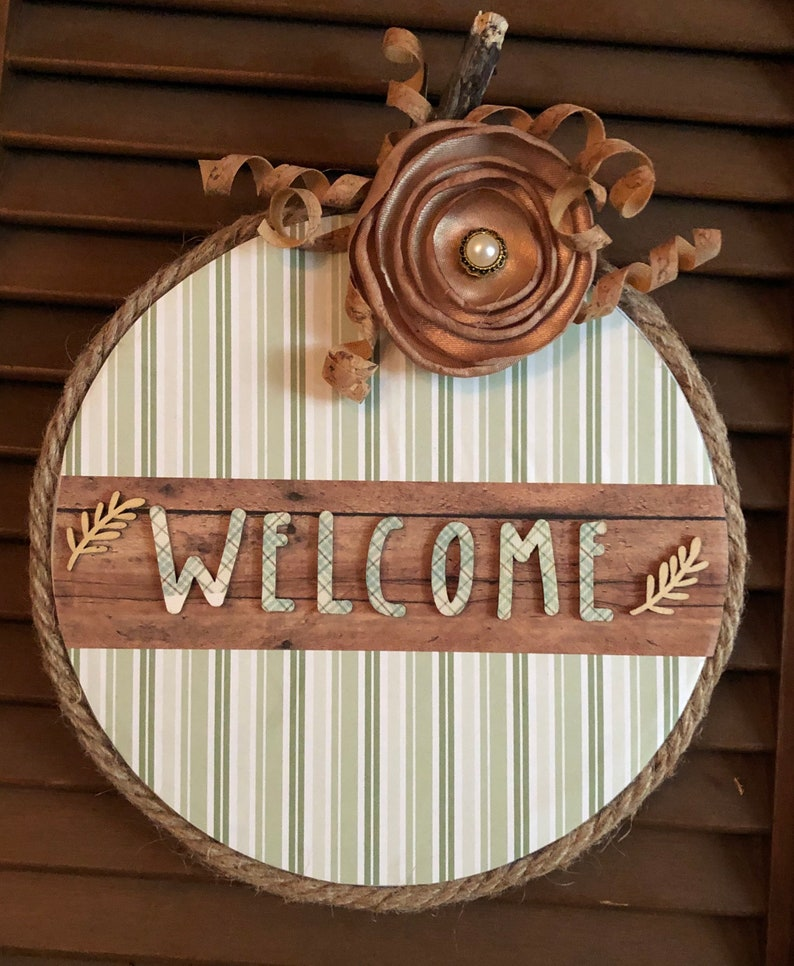 Mint green multi stripe Fall Welcome pumpkin sign if you have a metal door it can be hung w magnets. Super lightweight