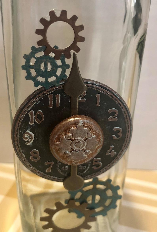 vinegar or soap bottle. Industrial  Steampunk themed glass 8oz oil