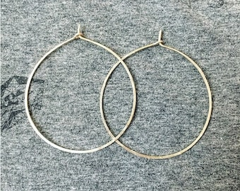 Lightly Oxidized ( Antiqued ) Tattered Sterling Silver Hoop Earrings