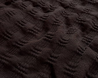 Wool Textured Sweater Knit - Washington Square - Dark Brown (by the half yard)