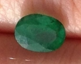 Green Emerald 1.20 Carat Oval 5.75x7.75mm Natural Zambian Gemstone with Video