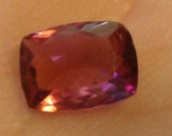 1.20 Carat Pink Tourmaline 6x8mm Natural Cushion Rubellite Gemstone with Video