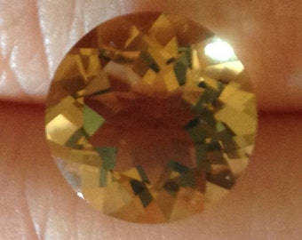 5.20 Carat Citrine Brilliant Natural Yellow Gemstone 12x12mm Champagne Crystal Solitaire Loose Sunrise Quartz Birthday Jewelry