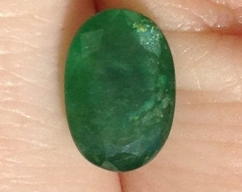 Emerald 1.70 Carat Oval 9x6mm Natural Green Gemstone with Video