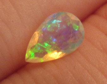 Rainbow Ethiopian Opal 5x8mm Natural Gemstone Pear with Video