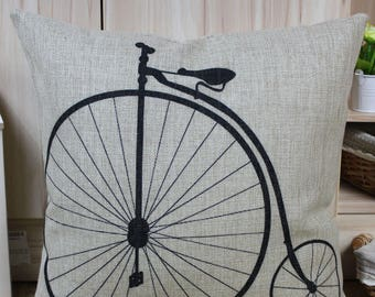 """Penny Farthing Bike Cushion In Cover Linen Cotton 17"""" X 17"""""""