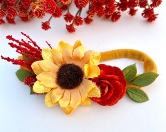Floral Hair Accessories for Baby Shower Red Rose Orange Yellow Sunflower Headband Flower Crown Band Sitter Toddler Photo Prop Newborn